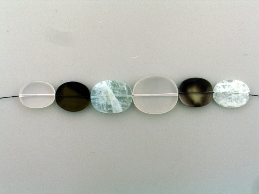 6 Count Varying Sizes Multi Stone Smooth Flat Ovals (Sale)