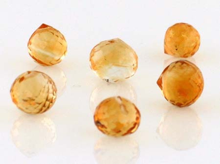 6 Count Graduated Citrine Top Drilled Faceted Rounds (Sale)
