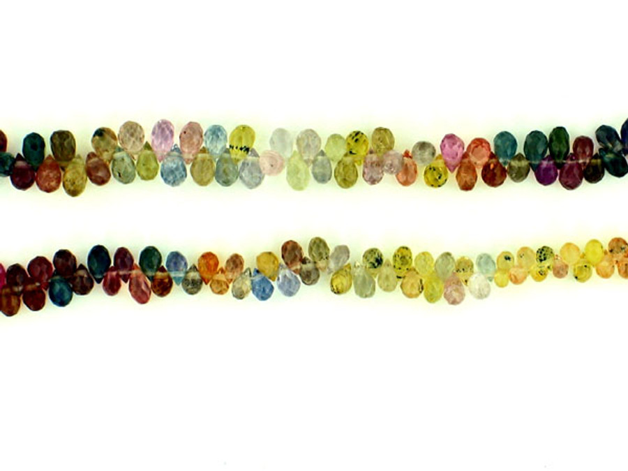 185 Count Multi Colored Sapphire Faceted Briolettes (Sale)