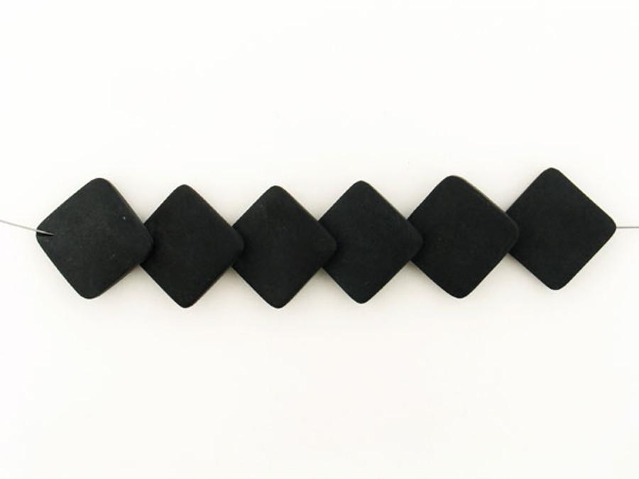 6 Count 33x33mm Black Matte Finish Onyx Overlapping Diamond Shape (Sale)