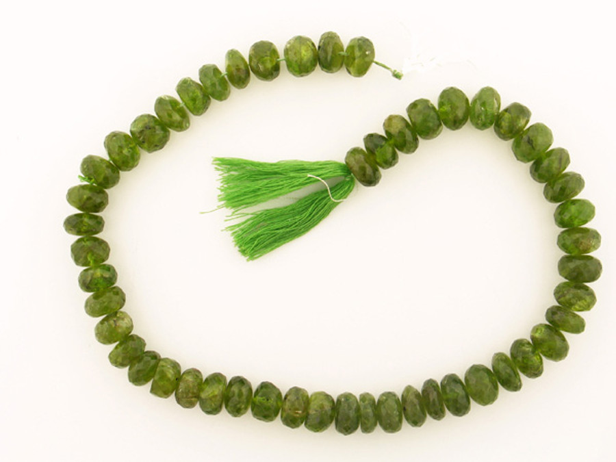 51 Count 12mm Green Ab Grade Peridot Faceted Rondelles-'1 Of A Kind' (Sale)