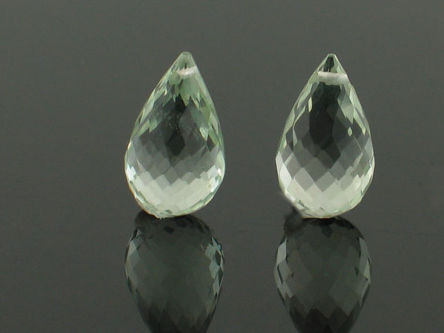 2 Count 14x8mm Green Amethyst Briolettes (Sale)