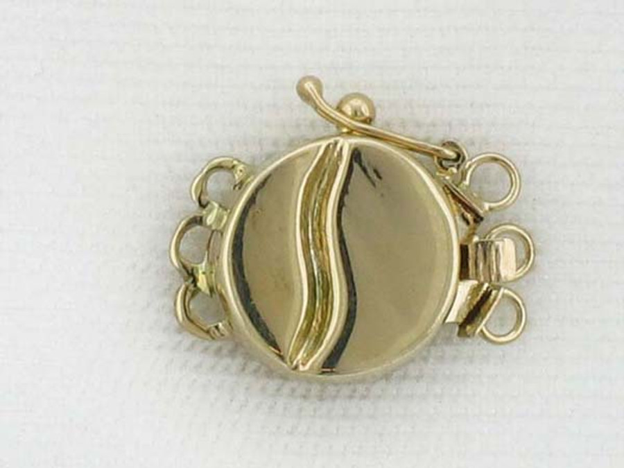 14kt Gold Disc Clasp - 16mm X 12mm X 4mm
