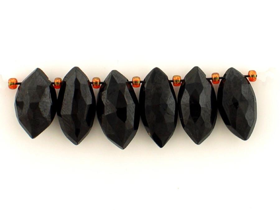 6 Count Varied Sizes Black Spinel Faceted Ellipses (Sale)