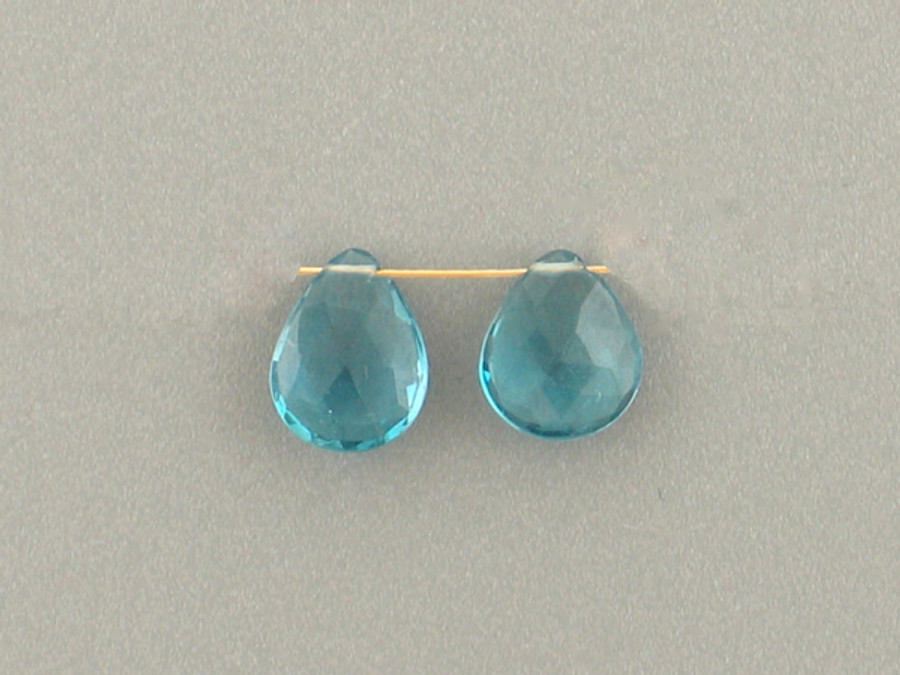 2 Count 9mm London Blue Topaz Faceted Pear (Sale)