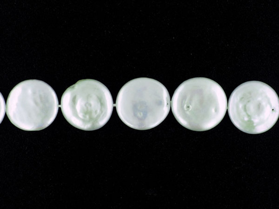 22 Count 16-18mm White Pearl Coins (Sale)