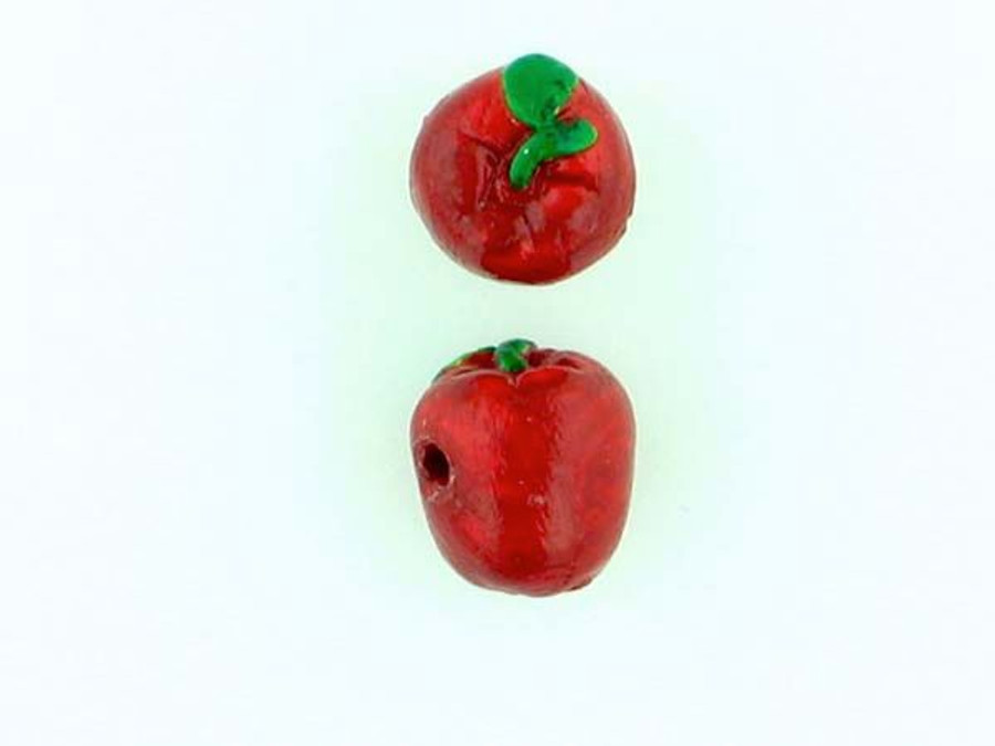 6 Count Red Apple Ceramic Teeny Tiny Beads (Sale)