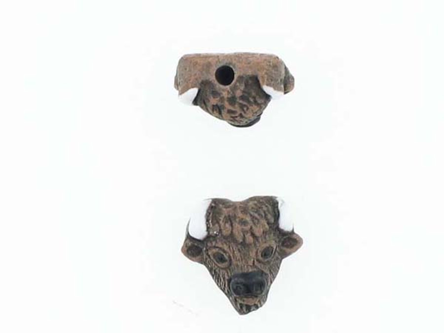 6 Count Buffalo Head Ceramic Teeny Tiny Beads (Sale)