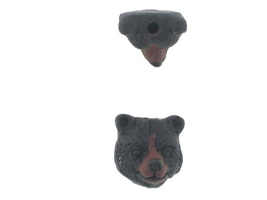 6 Count Black Bear Head Ceramic Teeny Tiny Beads (Sale)