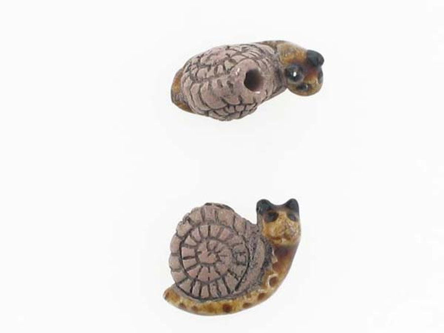 6 Count Snail Ceramic Teeny Tiny Beads (Sale)