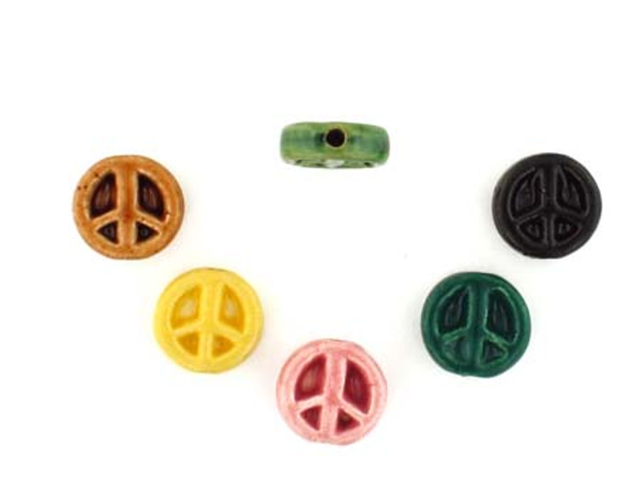 6 Count Assorted Peace Sign Ceramic Teeny Tiny Beads (Sale)