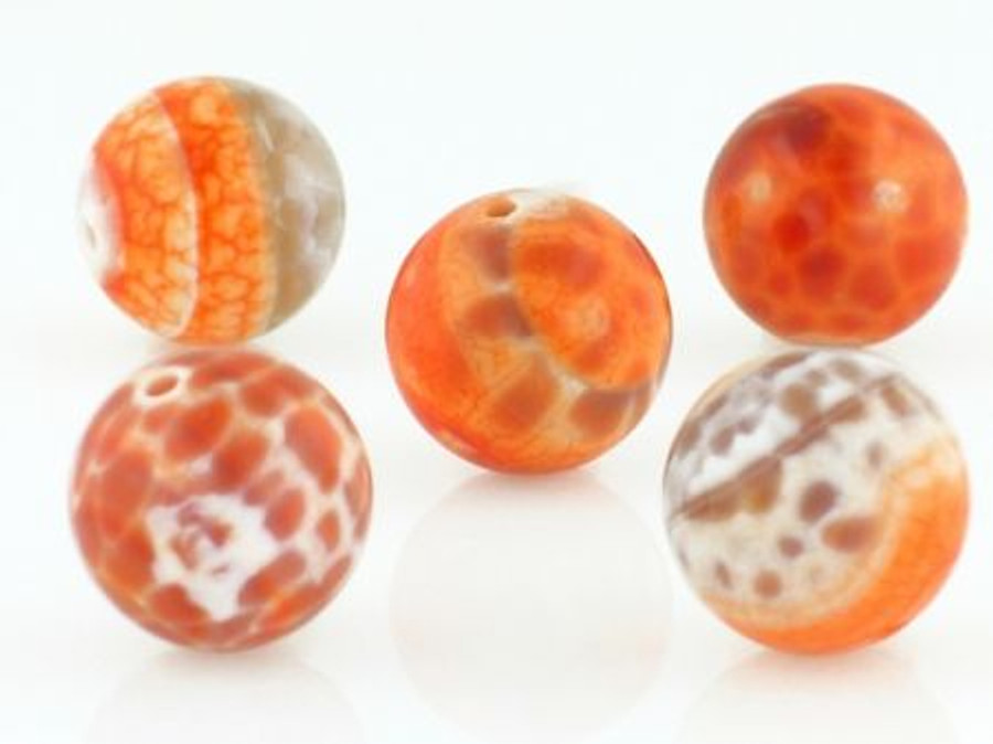 28 Count 14mm Fire Agate Polished Rounds (Sale)