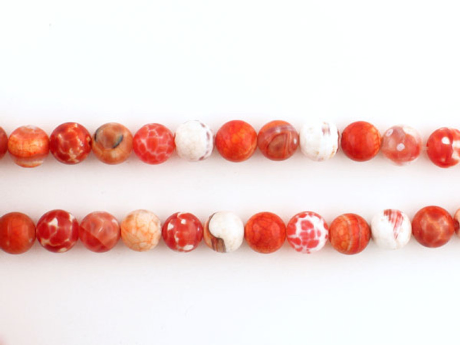 49 Count 8mm Fire Agate Polished Rounds (Sale)