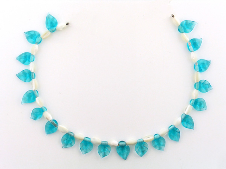 41 Count Two Size Mother Of Pearl Rice And Swiss Blue Glass Leaves (Sale)