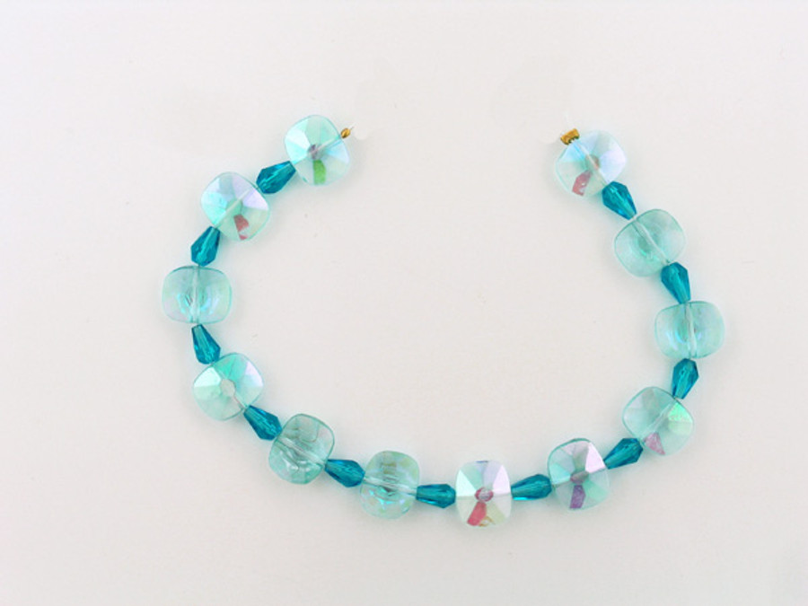 23 Count Faceted Blue Glass Rectangles And Faceted Drops (Sale)