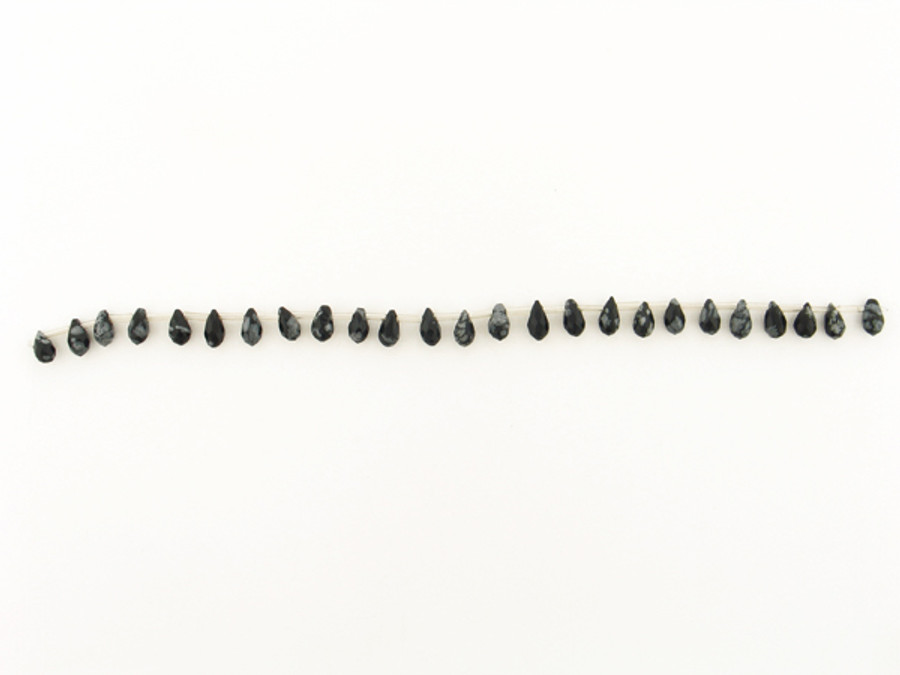 25 Count Varied Sizes Snowflake Obsidian Faceted Briolette (Sale)