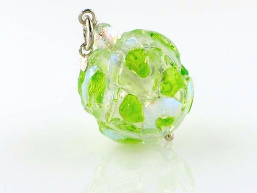 Lime Crisscross Dichroic Glass Round Pendant (Closeout)