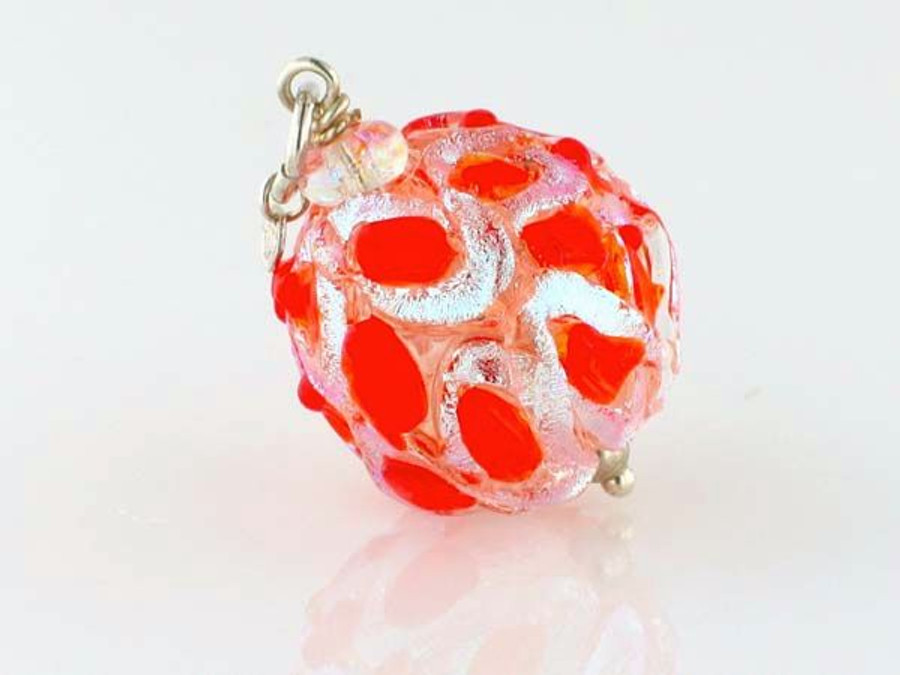 Orange Crisscross Dichroic Glass Round Pendant (Closeout)
