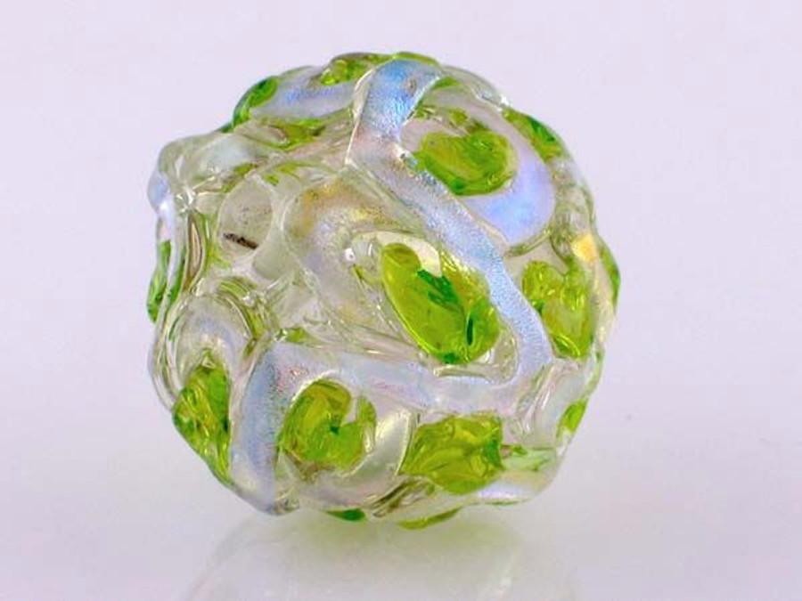 Green Crisscross Dichroic Glass Round (Closeout)