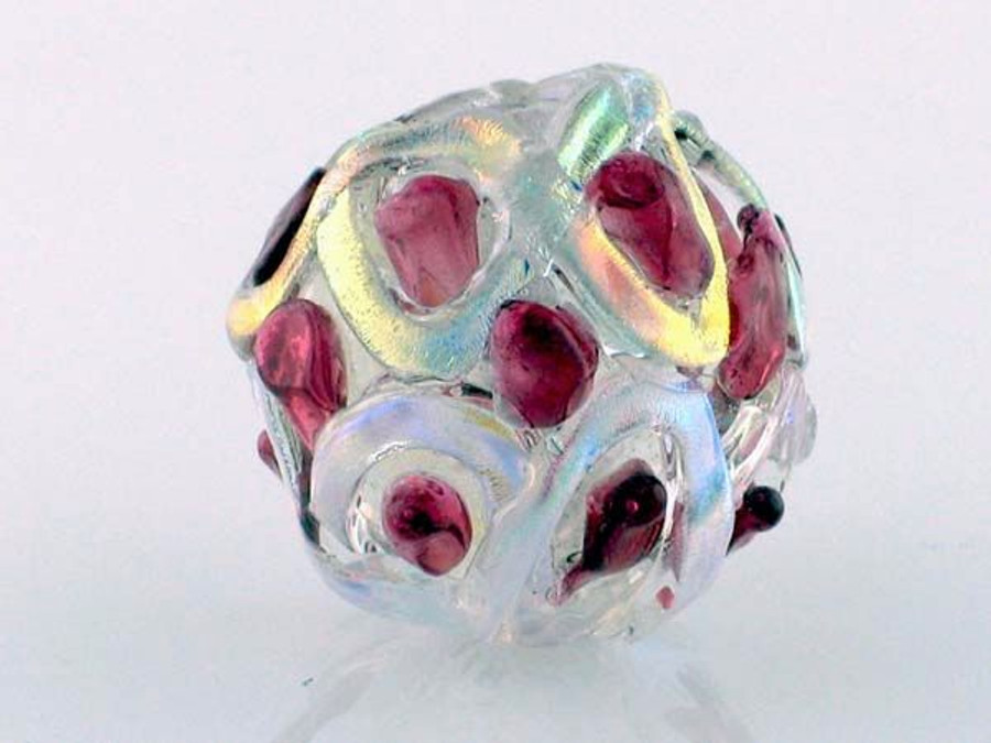 Red Crisscross Dichroic Glass Round Bead (Closeout)