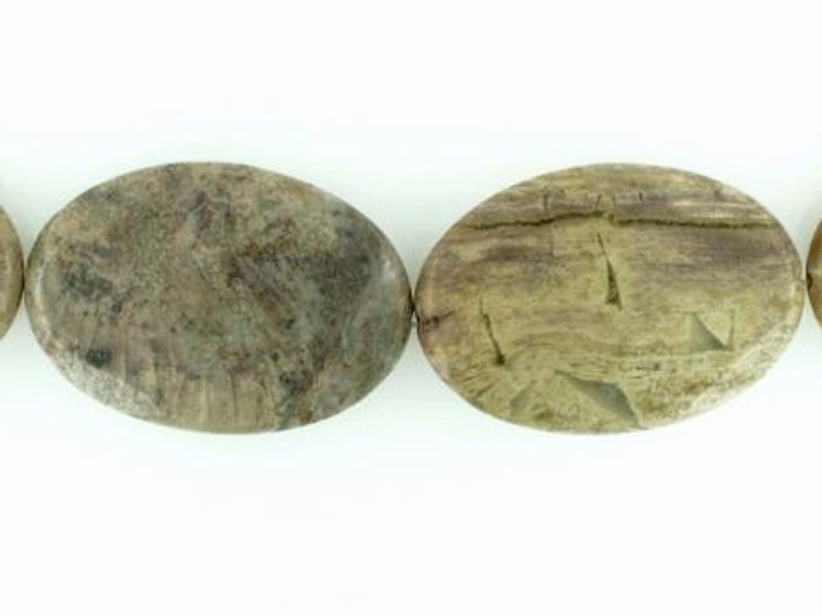 8 Count Lg Green Jasper Faceted Ovals (Closeout)