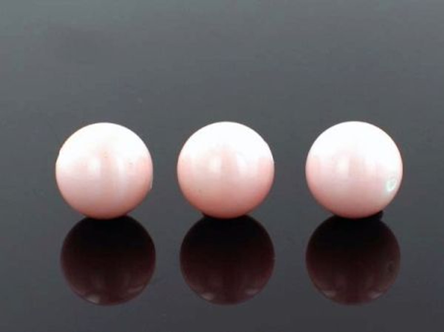 28 Count 14mm Peach Faux  Pearl Rounds (Sale)