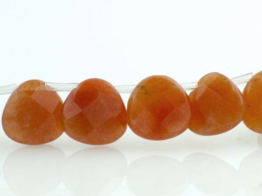 40 Count Sm Red Aventurine Faceted Hearts (Closeout)