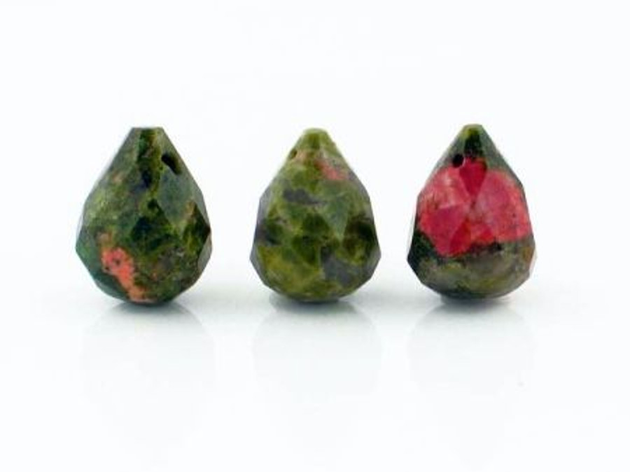 Apx 34 Count Sm Unakite Faceted Drops  (Closeout)