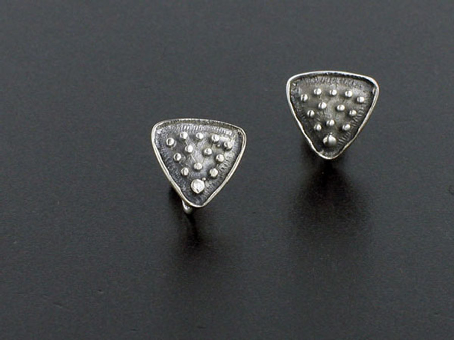 Silver Triangle With Loop Post Earrings - 2 Pair 12mm X 12mm