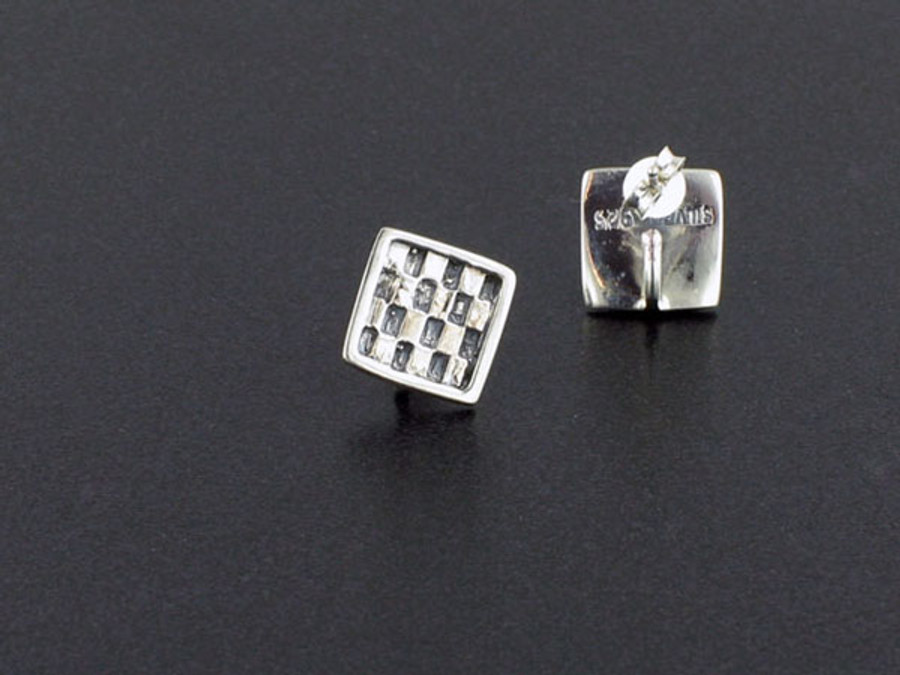 Sterling Silver Ring On Square Post  - 2 Pair