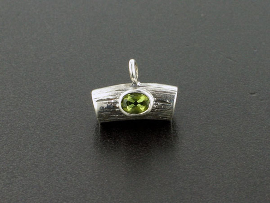2 Count Sterling Silver With Peridot Curved Tube Beads (Closeout)