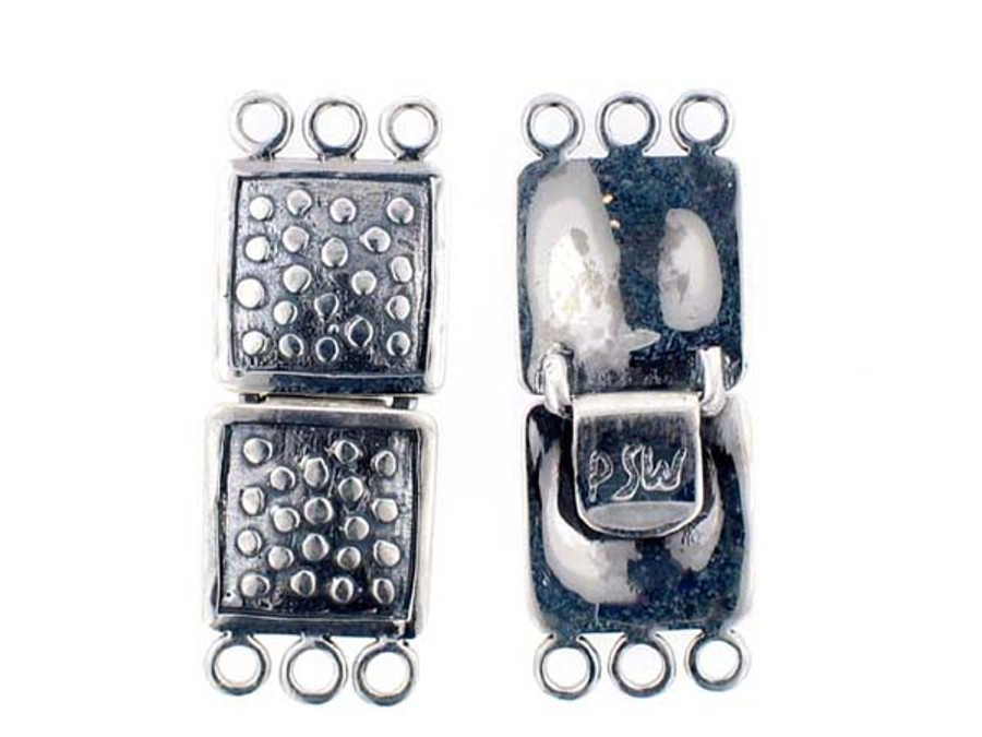 Sterling Silver 3-Strand Clasp - 2 Count - 40mm X 15mm