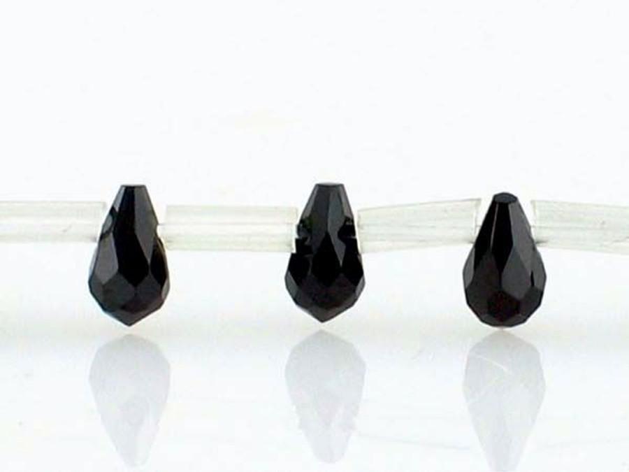 30 Count 5 X 3mm Black Cz Faceted Briolettes (Sale)