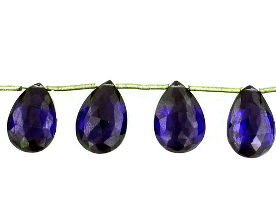 11 Count Varied Size Blue Cz Faceted Pear (Sale)