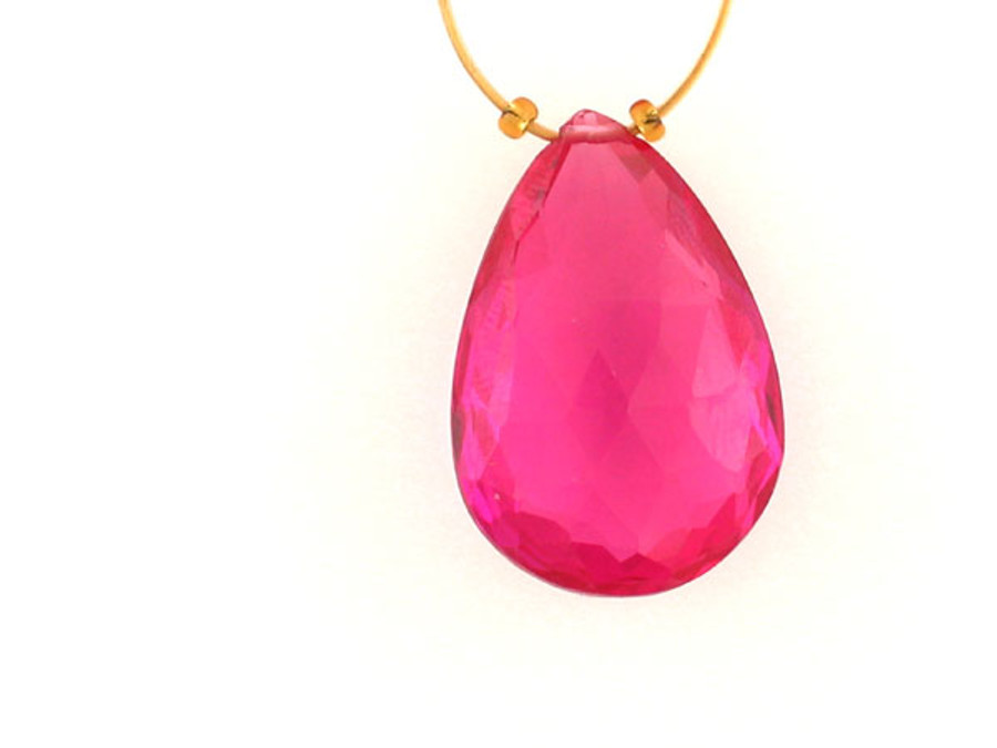 Hot Pink Cubic Zirconia Faceted Long Pear