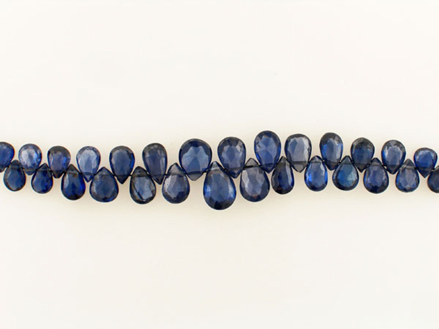 33 Count Graduated Blue Cubic Zirconia Long Faceted Pears (Sale)