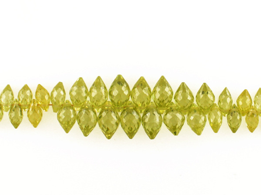 45 Count Graduated Light Green Cubic Zirconia Faceted Pointed Drop(Sale)