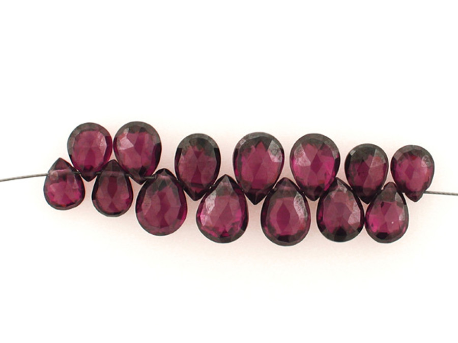 14 Count Graduated Plum Cubic Zirconia Faceted Long Pear (Sale)