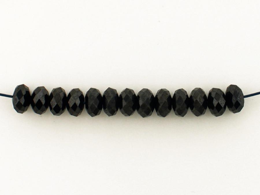 13 Count 6mm Black Cubic Zirconia Faceted Rondelles (Sale)
