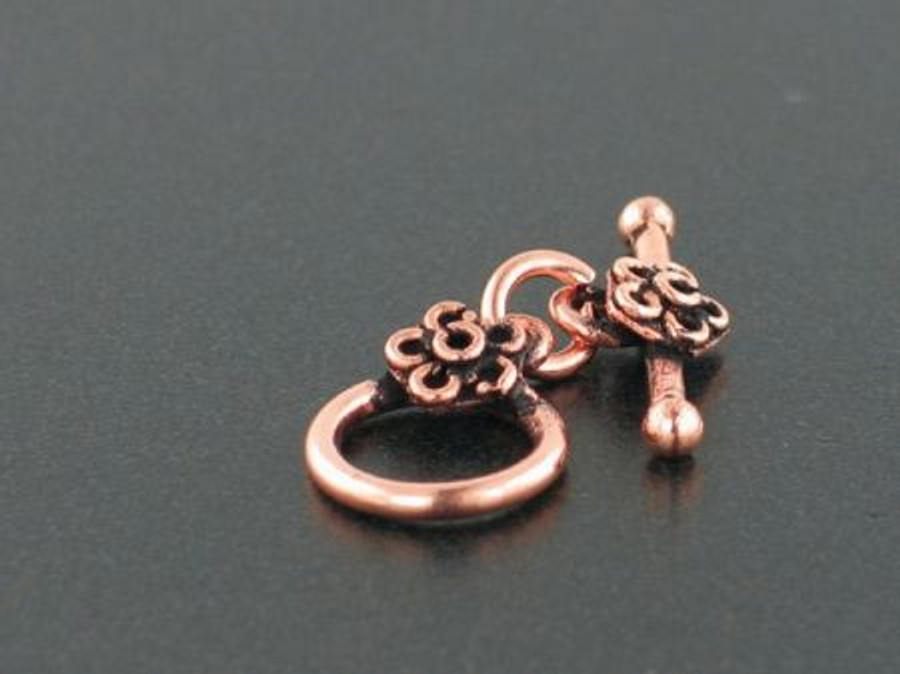 Antiqued Copper Round Toggle - 1 Set - 12mm