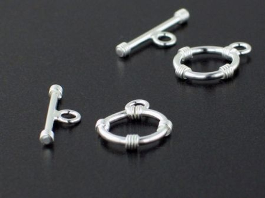 Sterling Silver 12mm Round Toggle With Rings - 2 Count