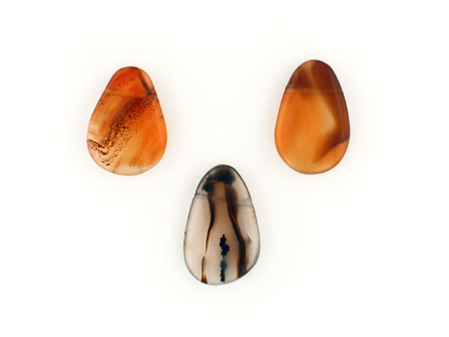 3 Count Moss Agate Top Drilled Flat Pears (Sale)