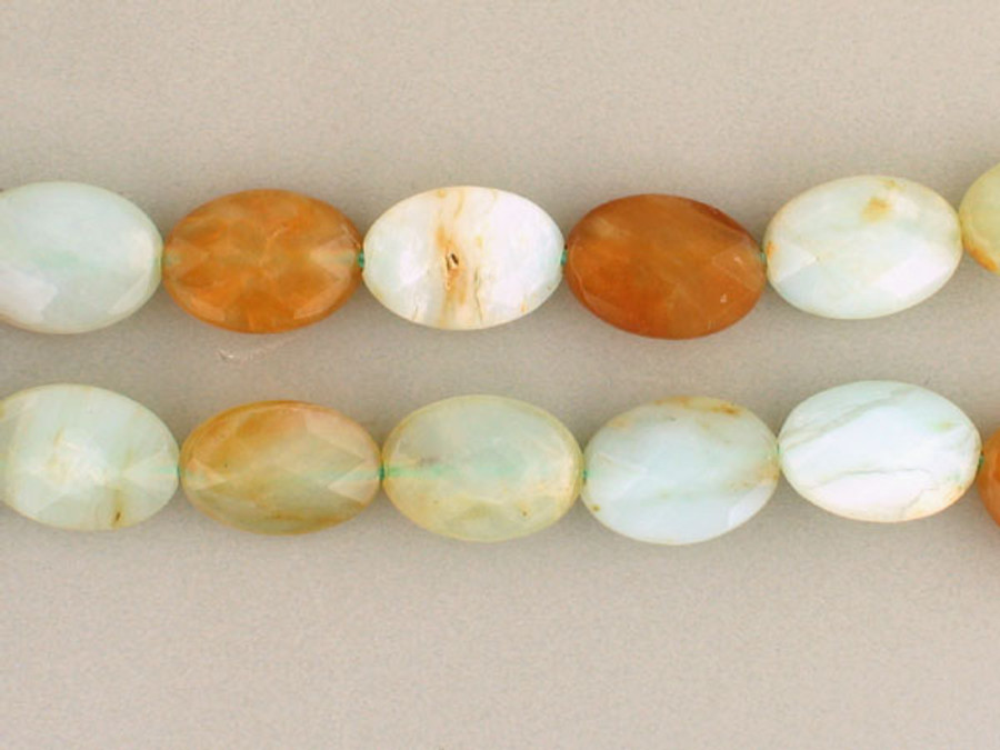 14 Count 14x10mm Blue Peruvian Opal Faceted Ovals (Sale)