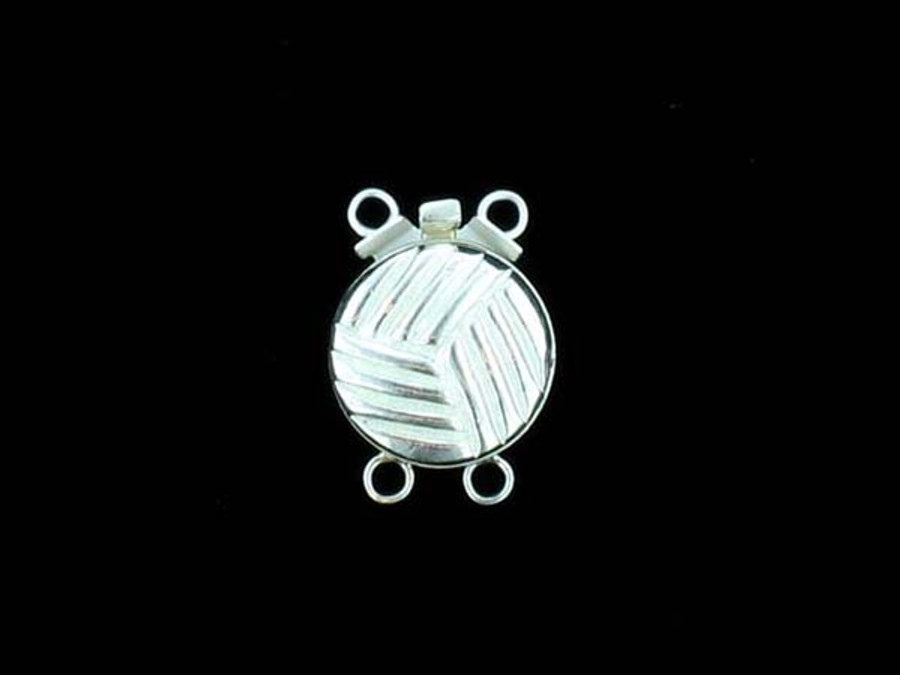 Sterling Silver 2 Strand Round Clasp - 3 Count - 15mm x 11mm x 5mm (Closeout)