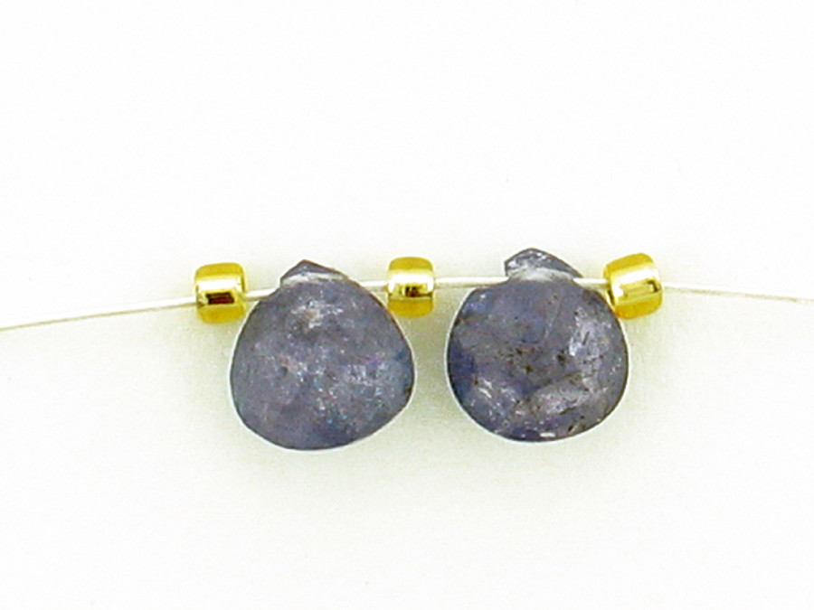 2 Count 6x6mm Blue Tanzanite Faceted Short Pears (Sale)