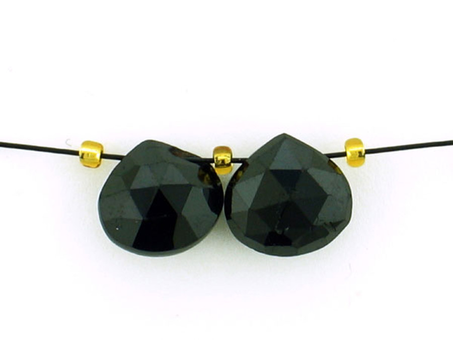 2 Count 9mm Black Tourmaline Faceted Pears (Sale)