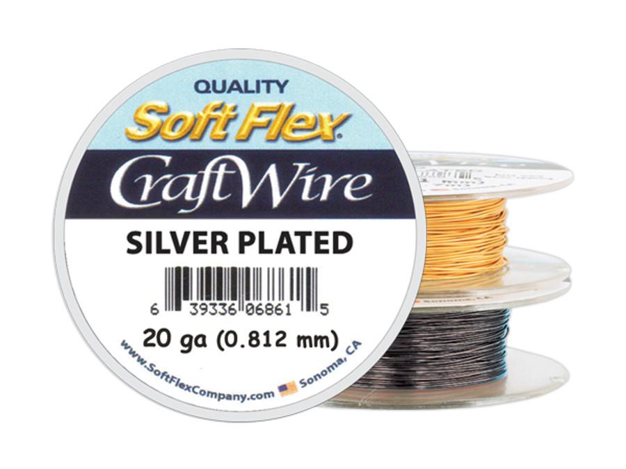 Soft Flex Craft Wire Silver Plated - 20ga/.812mm -  25 ft/8.3 yd/7.6 m