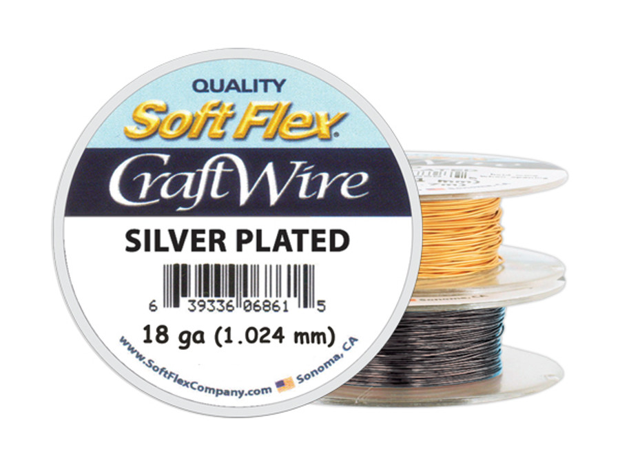 Soft Flex Craft Wire Silver Plated - 18ga/1.024mm - 20 ft/6.7 yd/6 m