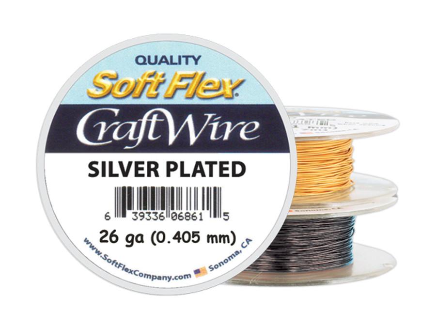 Soft Flex Craft Wire Silver Plated - 26ga/.405mm - 45 ft/15 yd/14 m