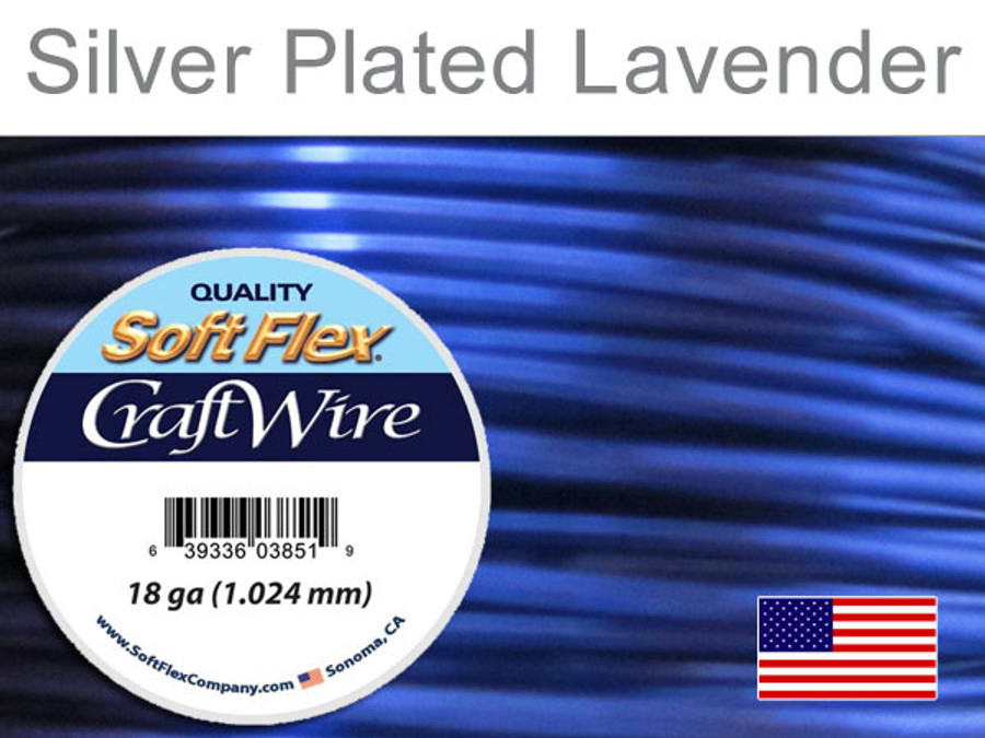 20 Ft 18 Ga Silver Plated Lavender Soft Flex Craft Wire (Closeout)